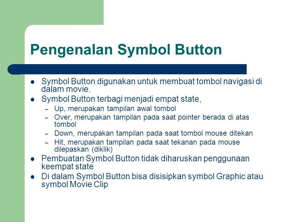 Pengenalan Symbol Button  Symbol Button digunakan untuk membuat tombol navigasi di dalam movie.