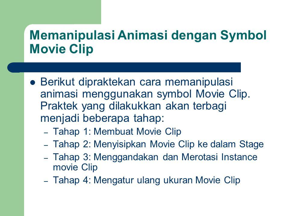 Memanipulasi Animasi dengan Symbol Movie Clip  Berikut dipraktekan cara memanipulasi animasi menggunakan symbol Movie Clip.