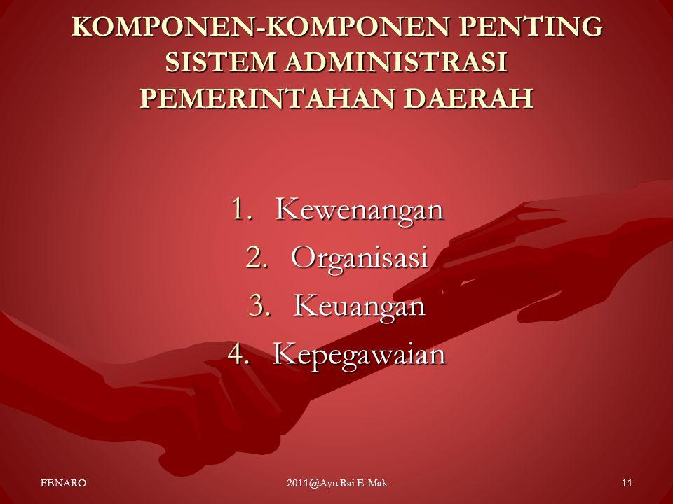 KOMPONEN-KOMPONEN PENTING SISTEM ADMINISTRASI PEMERINTAHAN DAERAH 1.Kewenangan 2.Organisasi 3.Keuangan 4.Kepegawaian FENARO2011@Ayu Rai.E-Mak11