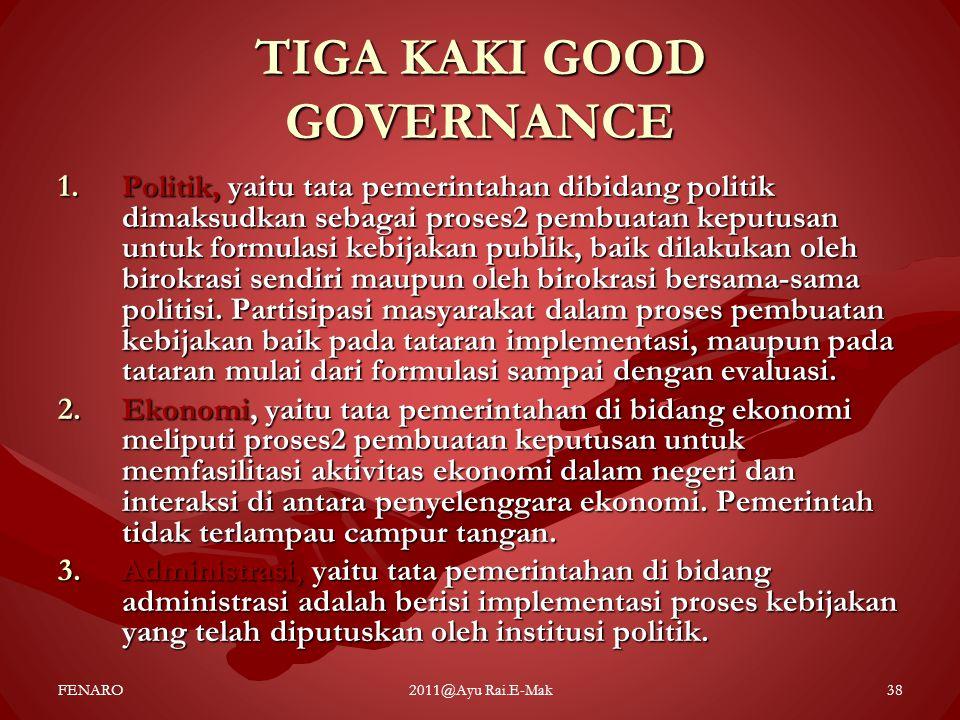 TIGA KAKI GOOD GOVERNANCE 1.Politik, yaitu tata pemerintahan dibidang politik dimaksudkan sebagai proses2 pembuatan keputusan untuk formulasi kebijaka