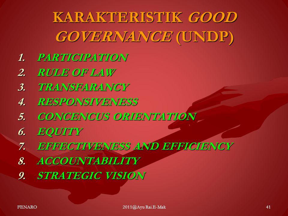 KARAKTERISTIK GOOD GOVERNANCE (UNDP) 1.PARTICIPATION 2.RULE OF LAW 3.TRANSFARANCY 4.RESPONSIVENESS 5.CONCENCUS ORIENTATION 6.EQUITY 7.EFFECTIVENESS AN