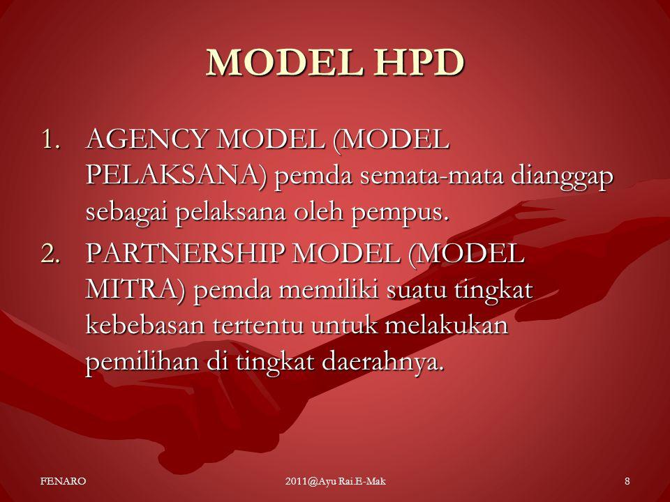 MODEL HPD 1.AGENCY MODEL (MODEL PELAKSANA) pemda semata-mata dianggap sebagai pelaksana oleh pempus. 2.PARTNERSHIP MODEL (MODEL MITRA) pemda memiliki