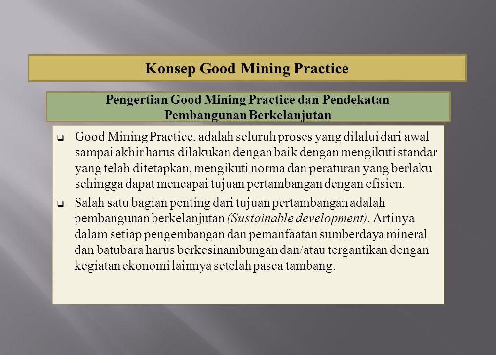  Good Mining Practice, adalah seluruh proses yang dilalui dari awal sampai akhir harus dilakukan dengan baik dengan mengikuti standar yang telah dite