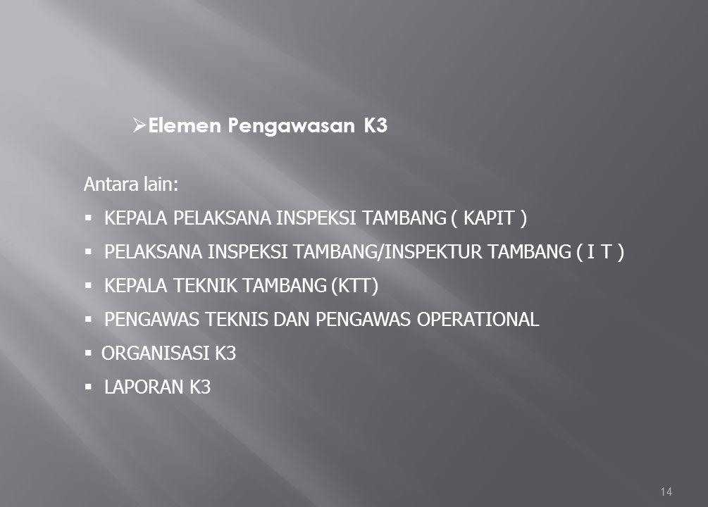 14 Antara lain:  KEPALA PELAKSANA INSPEKSI TAMBANG ( KAPIT )  PELAKSANA INSPEKSI TAMBANG/INSPEKTUR TAMBANG ( I T )  KEPALA TEKNIK TAMBANG (KTT)  P