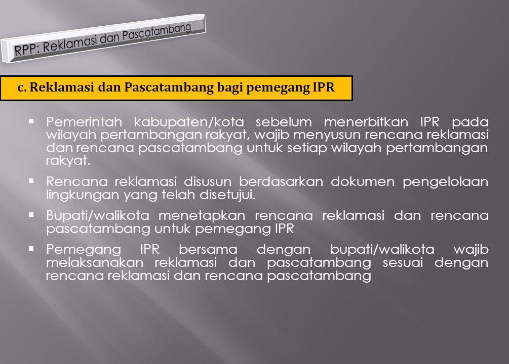  Pemerintah kabupaten/kota sebelum menerbitkan IPR pada wilayah pertambangan rakyat, wajib menyusun rencana reklamasi dan rencana pascatambang untuk