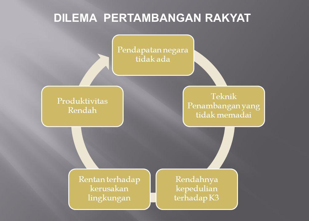 1.Pengurusan ijin dilakukan hasil penertiban dan lokasi tambang dalam kondisi rusak.