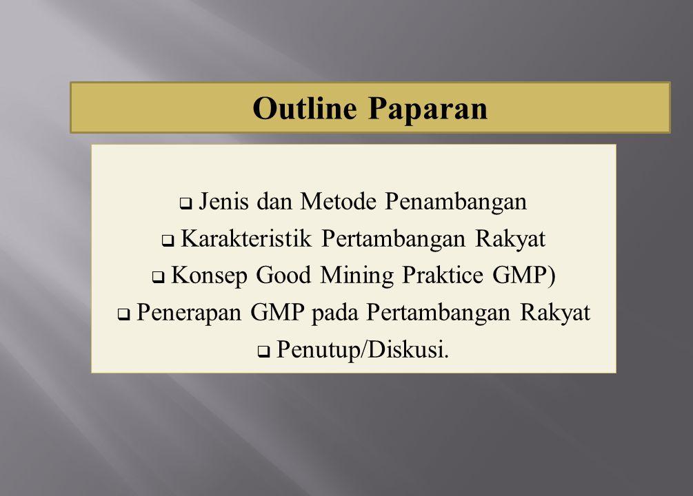  Jenis dan Metode Penambangan  Karakteristik Pertambangan Rakyat  Konsep Good Mining Praktice GMP)  Penerapan GMP pada Pertambangan Rakyat  Penut