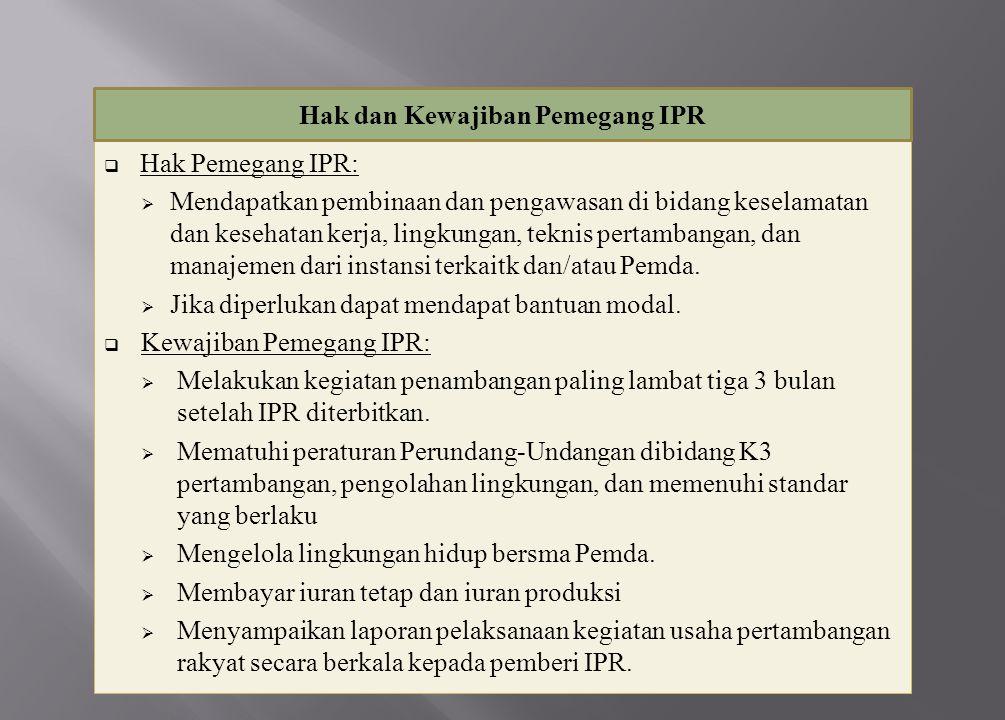  Hak Pemegang IPR:  Mendapatkan pembinaan dan pengawasan di bidang keselamatan dan kesehatan kerja, lingkungan, teknis pertambangan, dan manajemen d