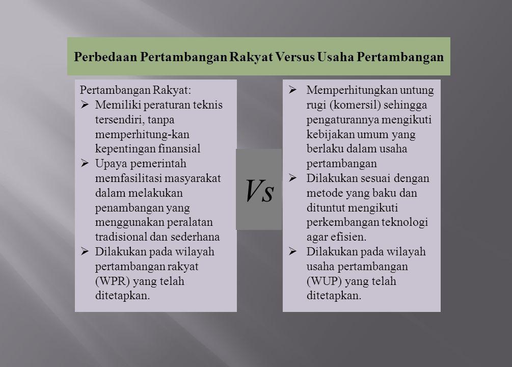 Perbedaan Pertambangan Rakyat Versus Usaha Pertambangan Pertambangan Rakyat:  Memiliki peraturan teknis tersendiri, tanpa memperhitung-kan kepentinga