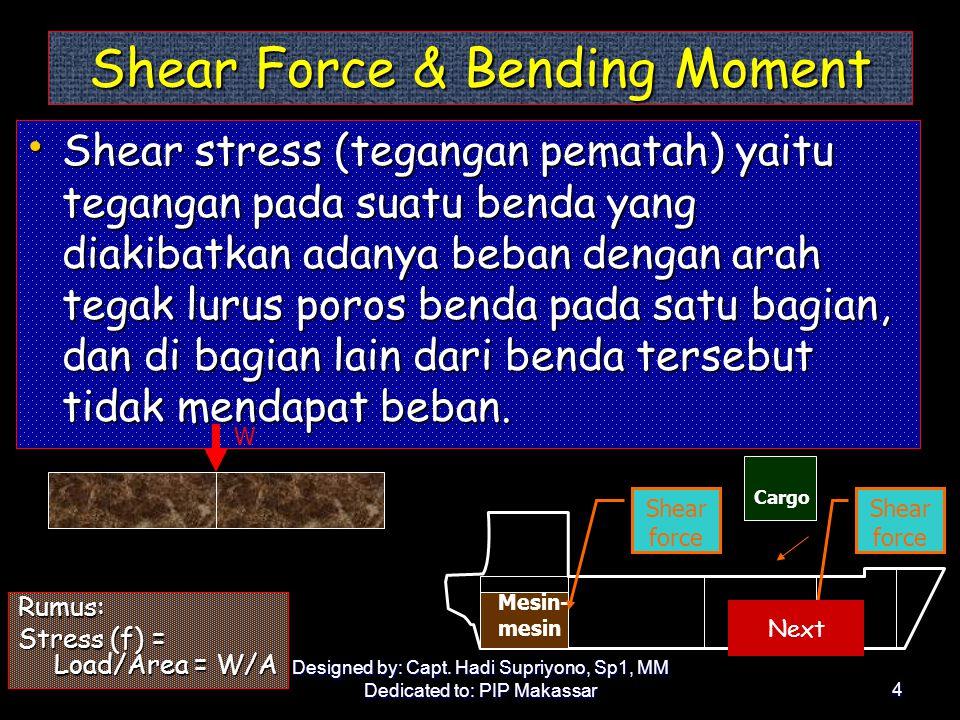 Designed by: Capt. Hadi Supriyono, Sp1, MM Dedicated to: PIP Makassar3 Tensile & Compressive Stresses •B•B•B•Beban yang menimbulkan sebuah benda mereg
