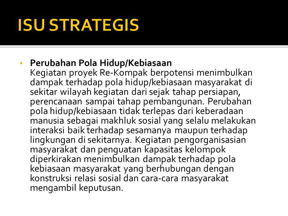 • Perubahan Pola Hidup/Kebiasaan Kegiatan proyek Re-Kompak berpotensi menimbulkan dampak terhadap pola hidup/kebiasaan masyarakat di sekitar wilayah kegiatan dari sejak tahap persiapan, perencanaan sampai tahap pembangunan.