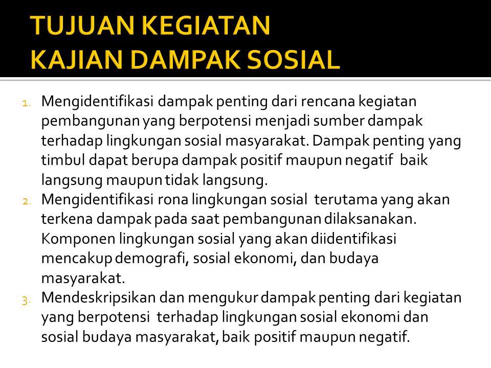 1. Mengidentifikasi dampak penting dari rencana kegiatan pembangunan yang berpotensi menjadi sumber dampak terhadap lingkungan sosial masyarakat. Damp