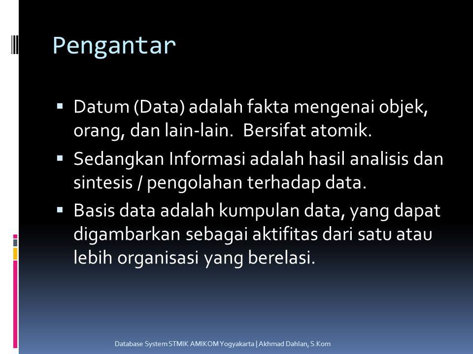 Pengantar  Datum (Data) adalah fakta mengenai objek, orang, dan lain-lain.