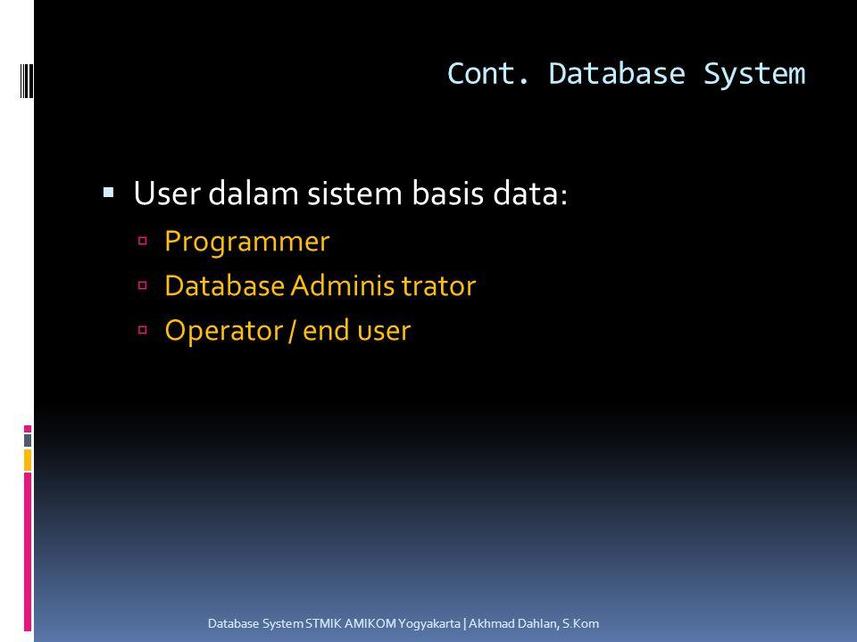 Data Model Evolution Database System STMIK AMIKOM Yogyakarta | Akhmad Dahlan, S.Kom