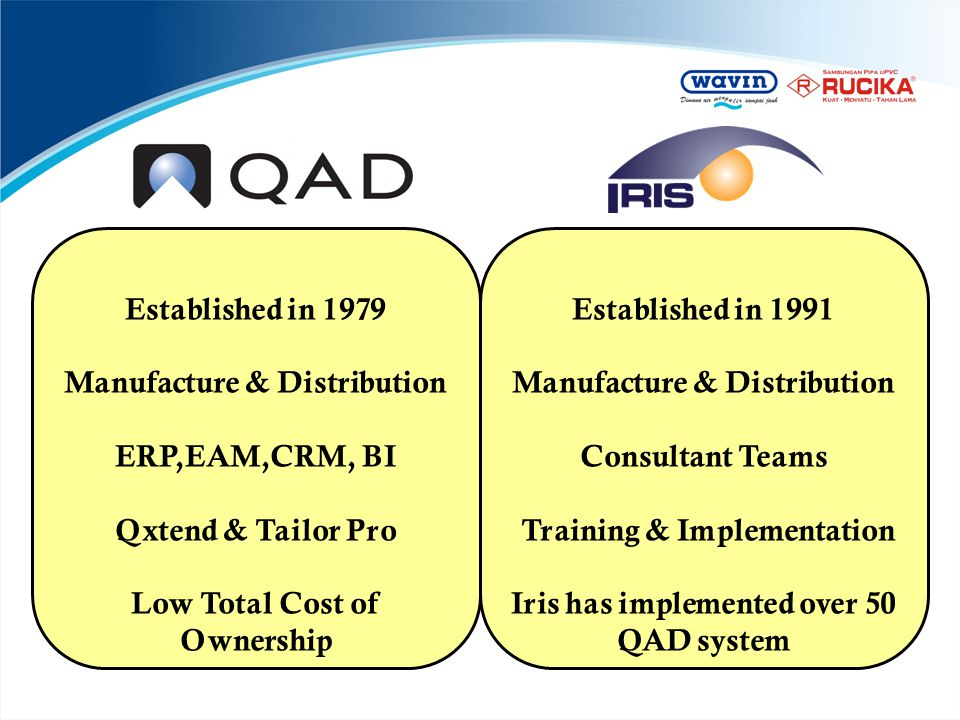 Established in 1979 Manufacture & Distribution ERP,EAM,CRM, BI Qxtend & Tailor Pro Low Total Cost of Ownership Established in 1991 Manufacture & Distr