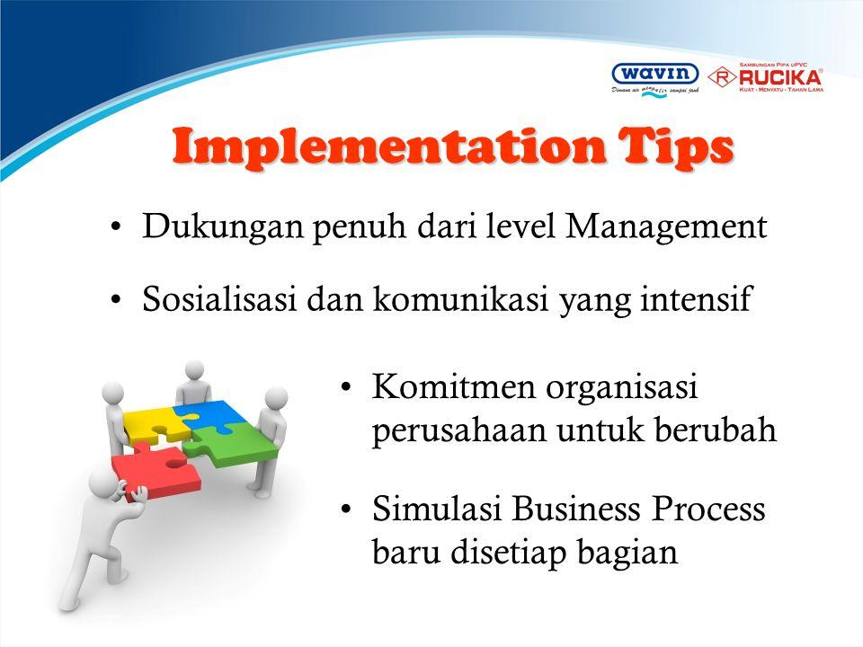 Implementation Tips •Dukungan penuh dari level Management •Sosialisasi dan komunikasi yang intensif •Komitmen organisasi perusahaan untuk berubah •Sim
