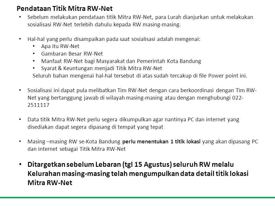 Pendataan Titik Mitra RW-Net • Sebelum melakukan pendataan titik Mitra RW-Net, para Lurah dianjurkan untuk melakukan sosialisasi RW-Net terlebih dahulu kepada RW masing-masing.