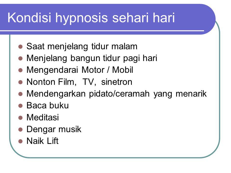 Kondisi hypnosis sehari hari  Saat menjelang tidur malam  Menjelang bangun tidur pagi hari  Mengendarai Motor / Mobil  Nonton Film, TV, sinetron 