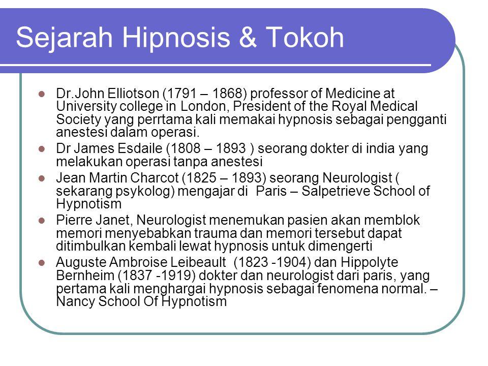 Sejarah Hipnosis & Tokoh  Dr.John Elliotson (1791 – 1868) professor of Medicine at University college in London, President of the Royal Medical Socie
