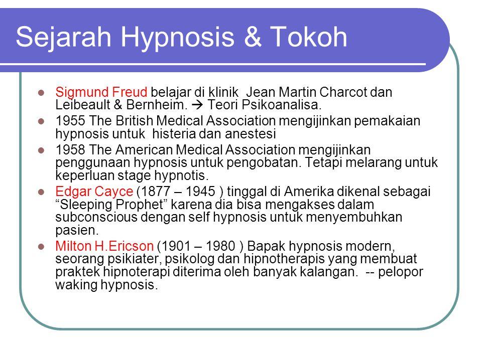 Sejarah Hypnosis & Tokoh  Sigmund Freud belajar di klinik Jean Martin Charcot dan Leibeault & Bernheim.  Teori Psikoanalisa.  1955 The British Medi