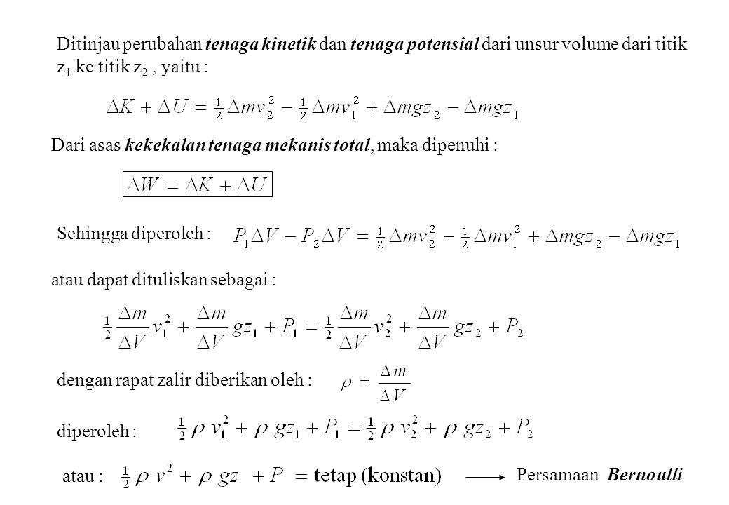 Ditinjau perubahan tenaga kinetik dan tenaga potensial dari unsur volume dari titik z 1 ke titik z 2, yaitu : Dari asas kekekalan tenaga mekanis total