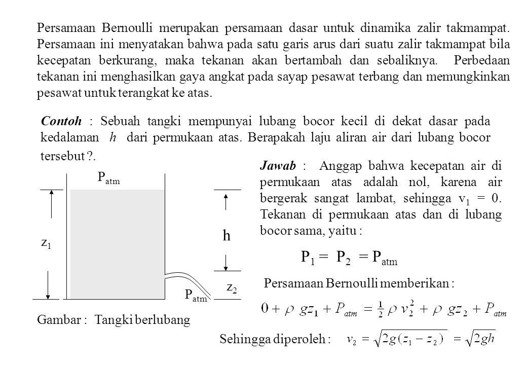 Persamaan Bernoulli merupakan persamaan dasar untuk dinamika zalir takmampat. Persamaan ini menyatakan bahwa pada satu garis arus dari suatu zalir tak
