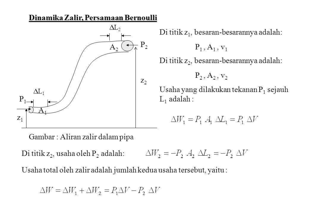 Ditinjau perubahan tenaga kinetik dan tenaga potensial dari unsur volume dari titik z 1 ke titik z 2, yaitu : Dari asas kekekalan tenaga mekanis total, maka dipenuhi : Sehingga diperoleh : atau dapat dituliskan sebagai : dengan rapat zalir diberikan oleh : diperoleh : atau : Persamaan Bernoulli