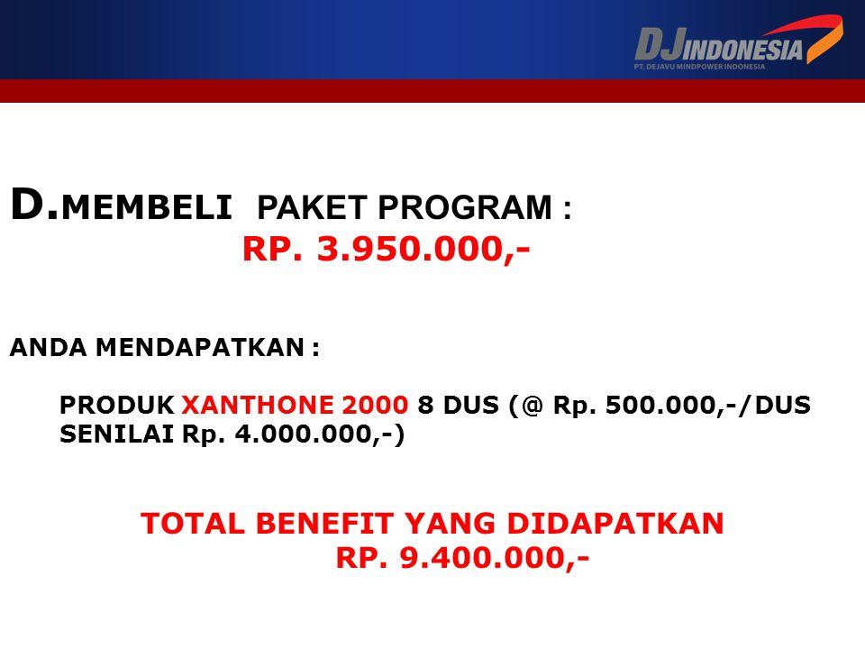 D.MEMBELI PAKET PROGRAM : RP. 3.950.000,- ANDA MENDAPATKAN : PRODUK XANTHONE 2000 8 DUS (@ Rp.