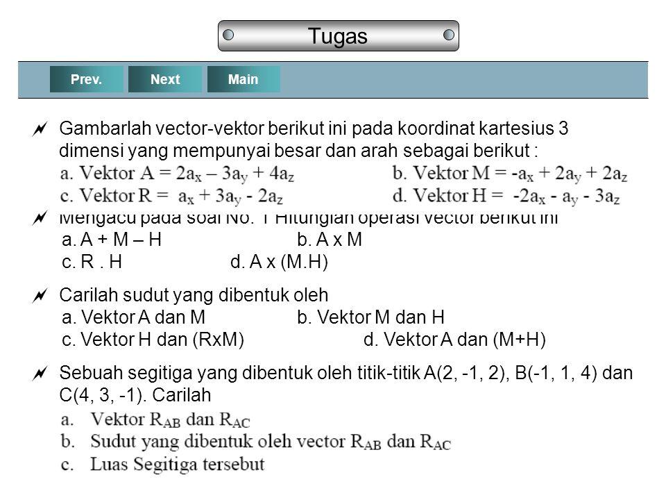 NextPrev.Main Tugas  Gambarlah vector-vektor berikut ini pada koordinat kartesius 3 dimensi yang mempunyai besar dan arah sebagai berikut :  Mengacu