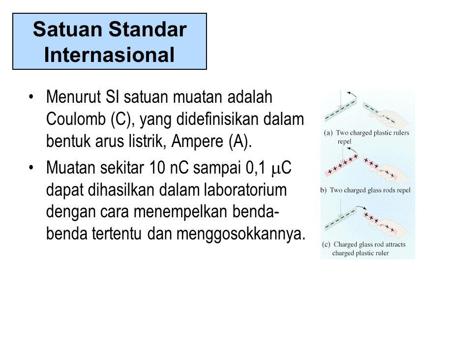 •Menurut SI satuan muatan adalah Coulomb (C), yang didefinisikan dalam bentuk arus listrik, Ampere (A). •Muatan sekitar 10 nC sampai 0,1  C dapat dih