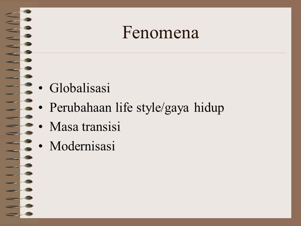 Fenomena •Globalisasi •Perubahaan life style/gaya hidup •Masa transisi •Modernisasi