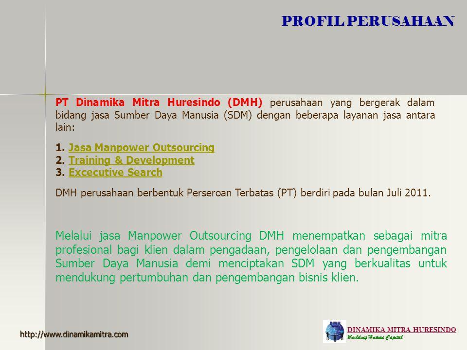 DINAMIKA MITRA HURESINDO Building Human Capital PROFIL PERUSAHAAN PT Dinamika Mitra Huresindo (DMH) perusahaan yang bergerak dalam bidang jasa Sumber