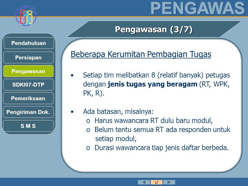 Pengawasan (3/7) Beberapa Kerumitan Pembagian Tugas •Setiap tim melibatkan 8 (relatif banyak) petugas dengan jenis tugas yang beragam (RT, WPK, PK, R).