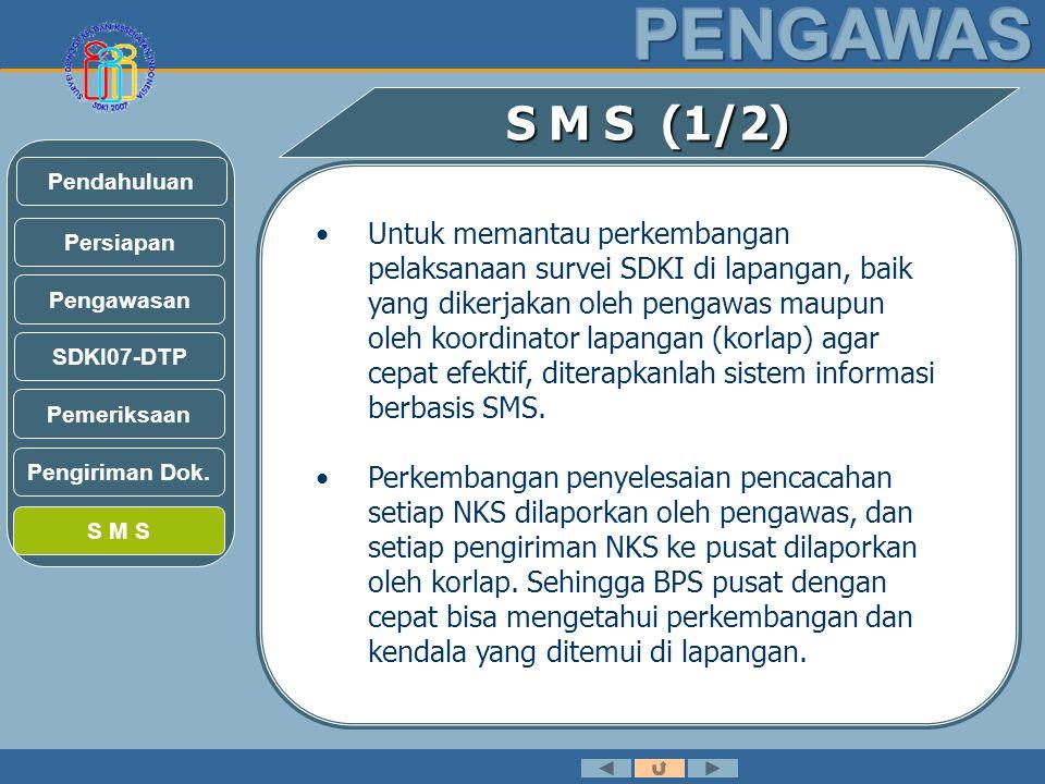 S M S (1/2) •Untuk memantau perkembangan pelaksanaan survei SDKI di lapangan, baik yang dikerjakan oleh pengawas maupun oleh koordinator lapangan (korlap) agar cepat efektif, diterapkanlah sistem informasi berbasis SMS.