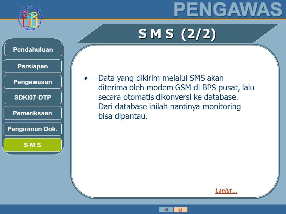 S M S (2/2) •Data yang dikirim melalui SMS akan diterima oleh modem GSM di BPS pusat, lalu secara otomatis dikonversi ke database.