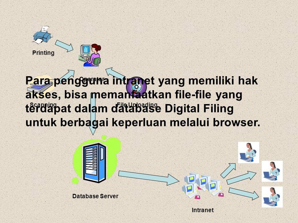 Operator Printing Database Server Scanning File Uploading Intranet Para pengguna intranet yang memiliki hak akses, bisa memanfaatkan file-file yang te