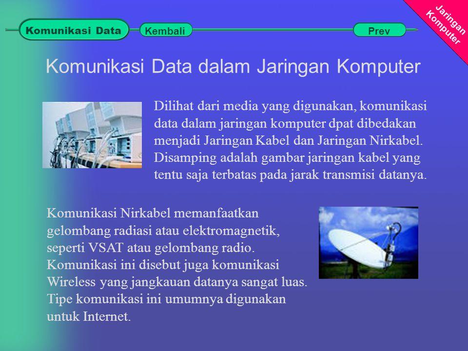 Jaringan Komputer Komunikasi Data dalam Jaringan Komputer Dilihat dari media yang digunakan, komunikasi data dalam jaringan komputer dpat dibedakan menjadi Jaringan Kabel dan Jaringan Nirkabel.