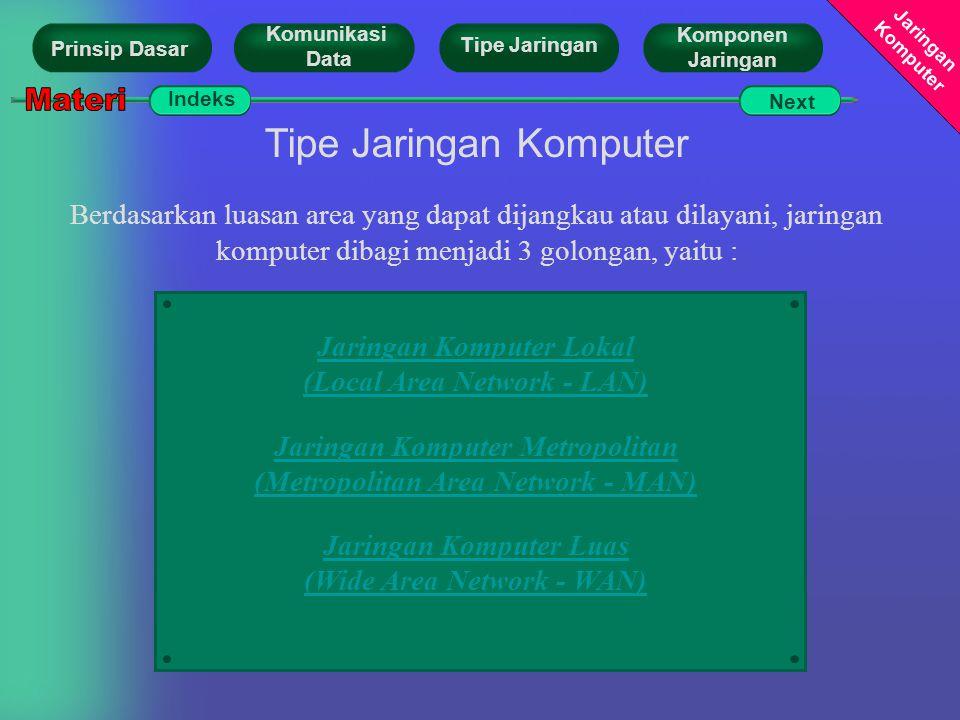 Jaringan Komputer Tipe Jaringan Komputer Berdasarkan luasan area yang dapat dijangkau atau dilayani, jaringan komputer dibagi menjadi 3 golongan, yait