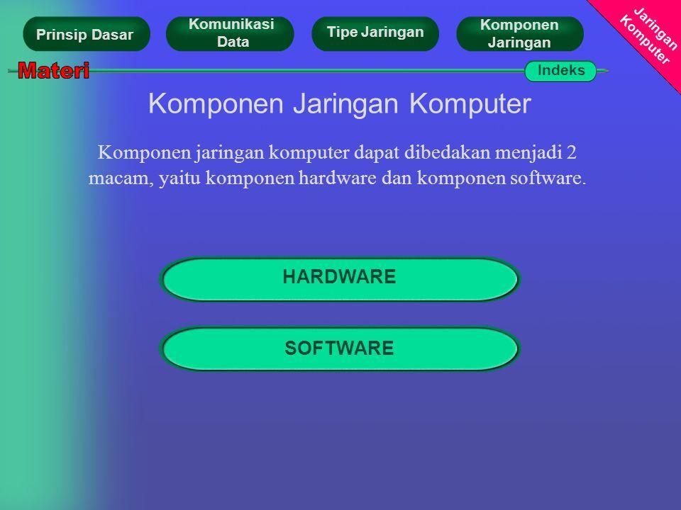 Jaringan Komputer Komponen Jaringan Komputer Komponen jaringan komputer dapat dibedakan menjadi 2 macam, yaitu komponen hardware dan komponen software