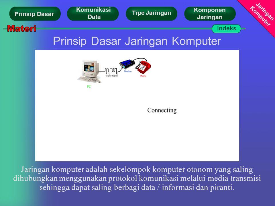 Jaringan Komputer Prinsip Dasar Tipe Jaringan Komunikasi Data Komponen Jaringan Prinsip Dasar Jaringan Komputer Jaringan komputer adalah sekelompok komputer otonom yang saling dihubungkan menggunakan protokol komunikasi melalui media transmisi sehingga dapat saling berbagi data / informasi dan piranti.