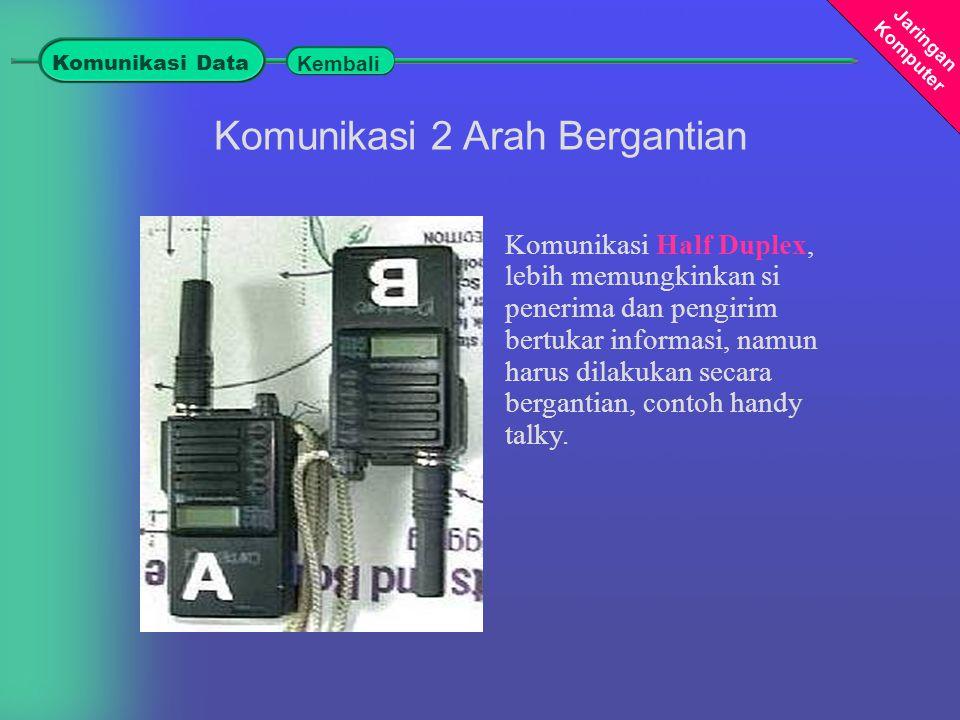Jaringan Komputer Komunikasi Half Duplex, lebih memungkinkan si penerima dan pengirim bertukar informasi, namun harus dilakukan secara bergantian, contoh handy talky.