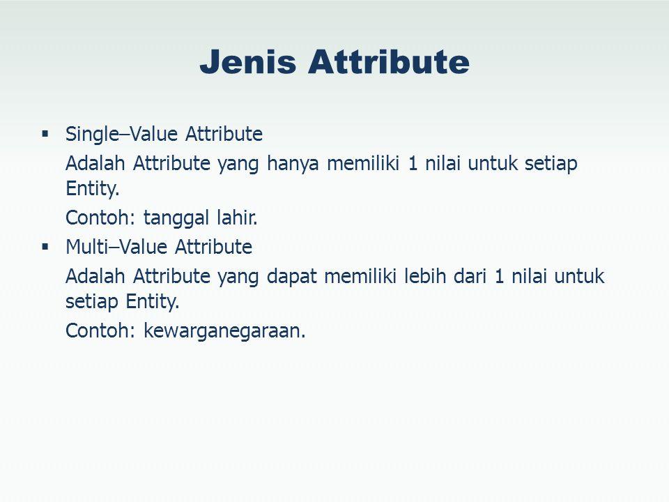 Jenis Attribute  Single–Value Attribute Adalah Attribute yang hanya memiliki 1 nilai untuk setiap Entity. Contoh: tanggal lahir.  Multi–Value Attrib