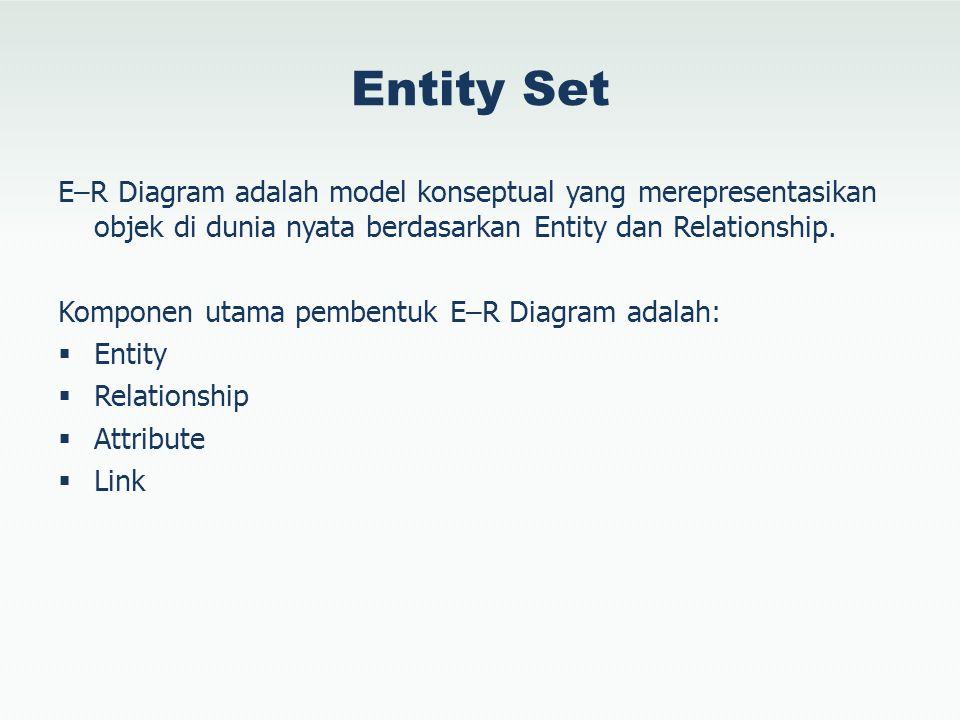 Entity Set E–R Diagram adalah model konseptual yang merepresentasikan objek di dunia nyata berdasarkan Entity dan Relationship. Komponen utama pembent