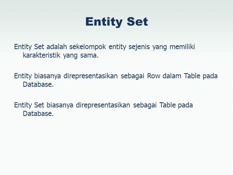 Entity Set Entity Set adalah sekelompok entity sejenis yang memiliki karakteristik yang sama. Entity biasanya direpresentasikan sebagai Row dalam Tabl