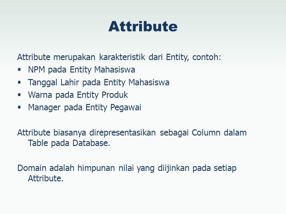 Attribute Attribute merupakan karakteristik dari Entity, contoh:  NPM pada Entity Mahasiswa  Tanggal Lahir pada Entity Mahasiswa  Warna pada Entity