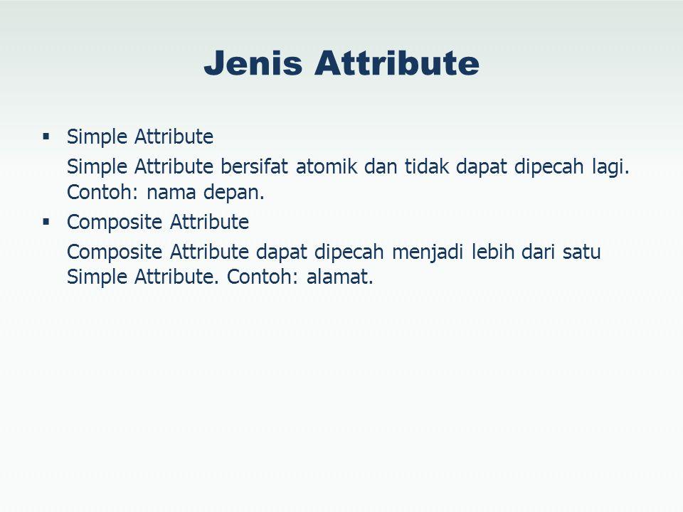 Jenis Attribute  Simple Attribute Simple Attribute bersifat atomik dan tidak dapat dipecah lagi. Contoh: nama depan.  Composite Attribute Composite