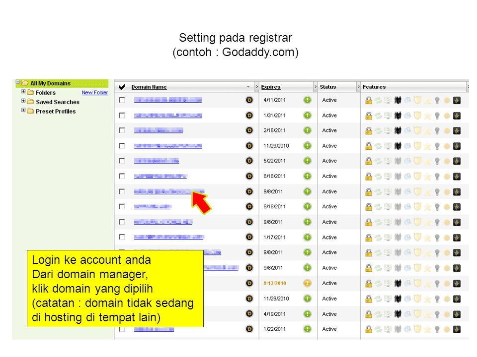 Setting pada registrar (contoh : Godaddy.com) Login ke account anda Dari domain manager, klik domain yang dipilih (catatan : domain tidak sedang di hosting di tempat lain)