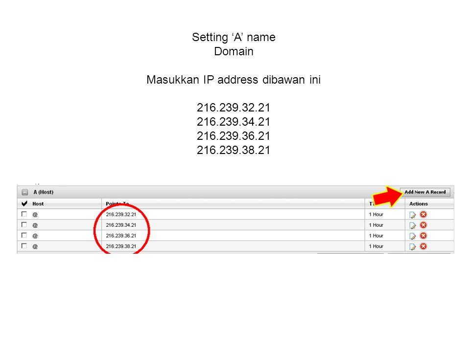 Setting 'A' name Domain Masukkan IP address dibawan ini 216.239.32.21 216.239.34.21 216.239.36.21 216.239.38.21