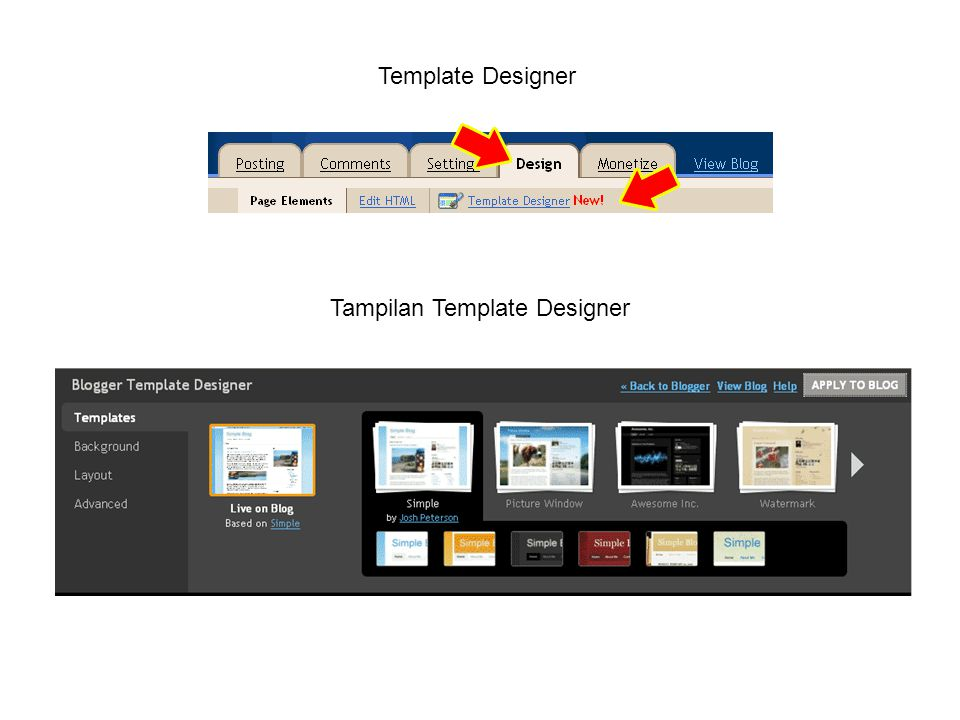 Template Designer Tampilan Template Designer