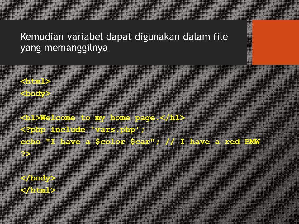 Kemudian variabel dapat digunakan dalam file yang memanggilnya Welcome to my home page.